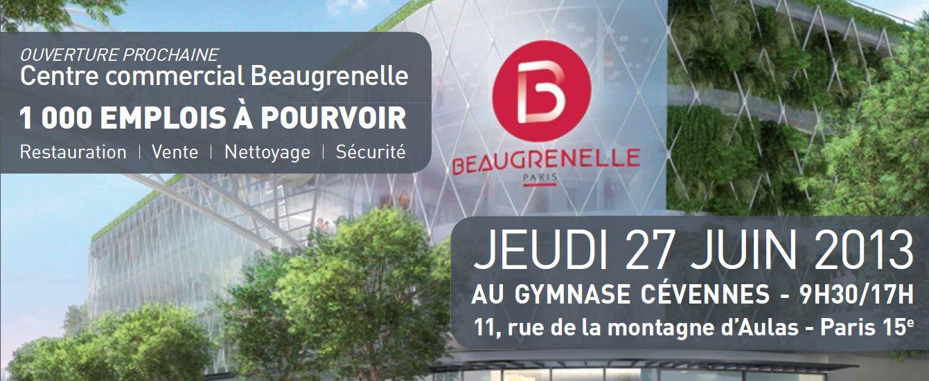Forum de l'emploi Beaugrenelle - 27 juin 2013, 9h30 - 1000 emplois à pourvoir