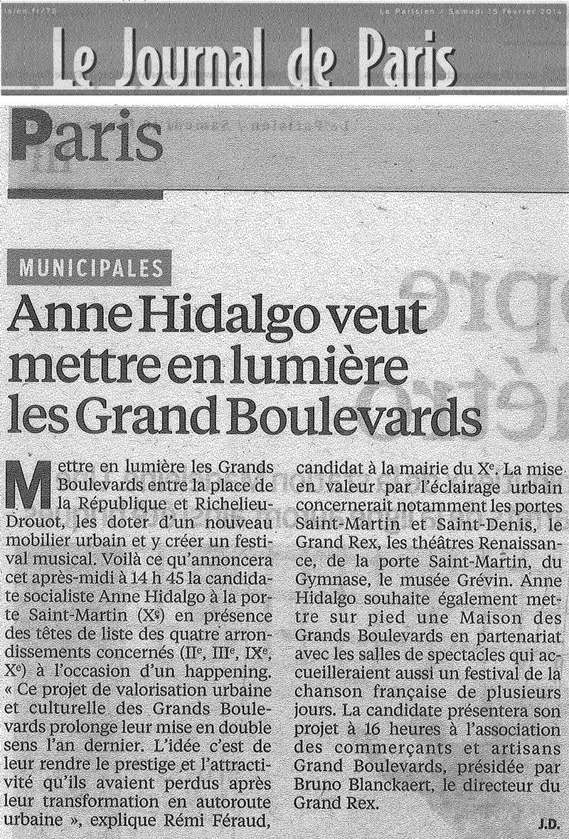 Le Parisien - 15/02/2014 - Anne Hidalgo // Les Grands Boulevards